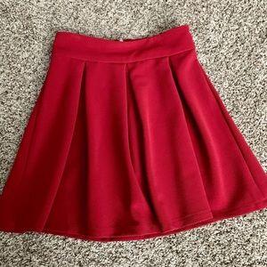 Deep red flounce zip back skirt